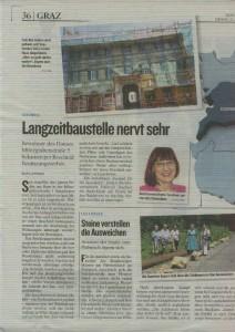 """Artikel """"Langzeitbaustelle nervt sehr"""" von Hans Andrej aus der Kleinen Zeitung"""