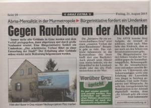 Artikel über die Abbruchwut in Graz