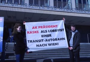 Demonstranten gegen Lobau-Autobahn